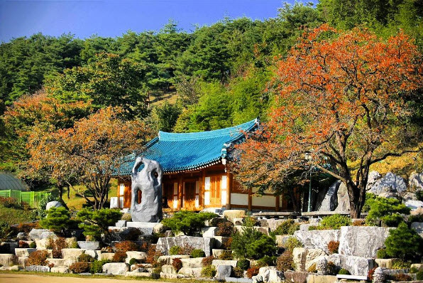 Traditional Korean Blue-tiled Roof House