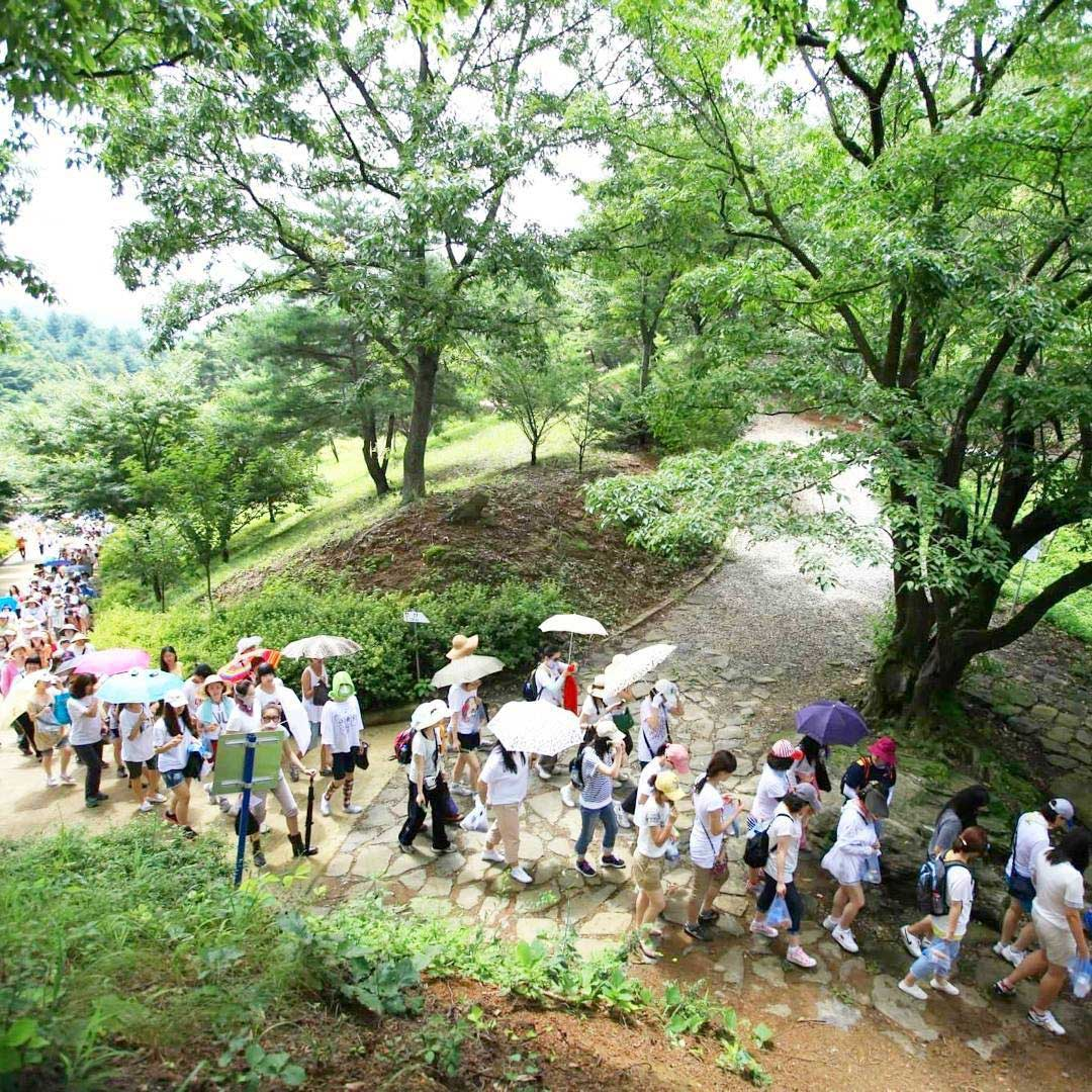 A long line of people hike through the trails in Wolmyeongdong